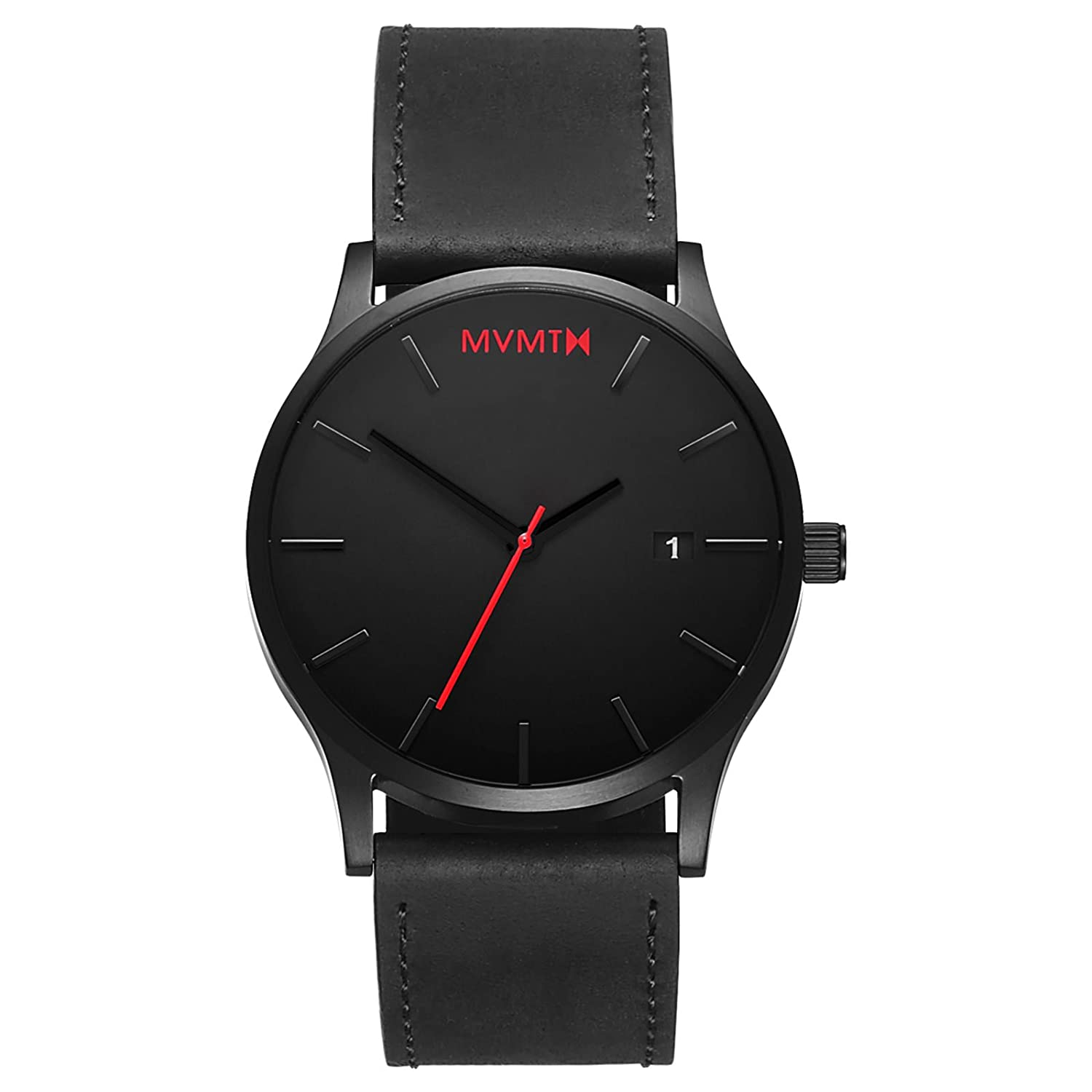 MVMT Classic Black Leather, Black Watches, Date Display, Automatic Watch