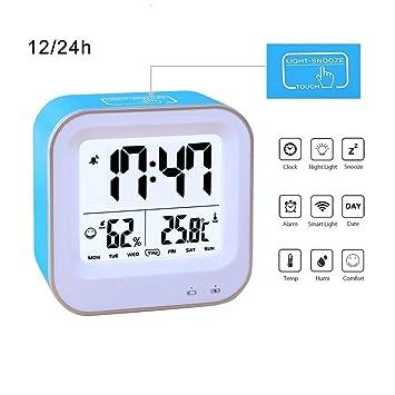 Dormitorio Reloj Despertador, samshow recargable Reloj despertador con 12H o 24h//Semana pantalla, repetición de alarma de temperatura (C/F)/Humedad/función ...