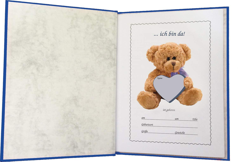 Jungen Geschenk zur Geburt Baby-Stammbuch Dino blau