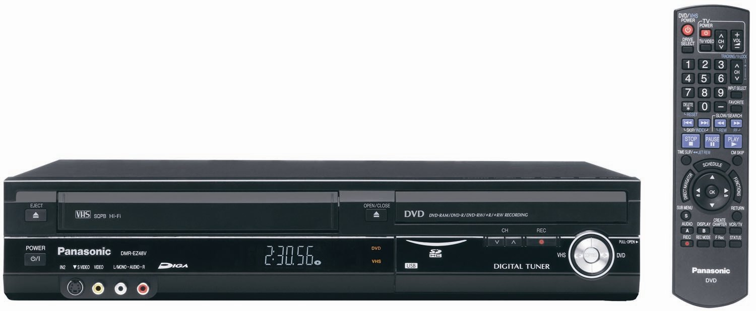 Amazon.com: Panasonic DMR-EZ47V Up-Converting 1080p DVD-Recorder/VCR Combo  with Built In Tuner (2005 Model): Electronics