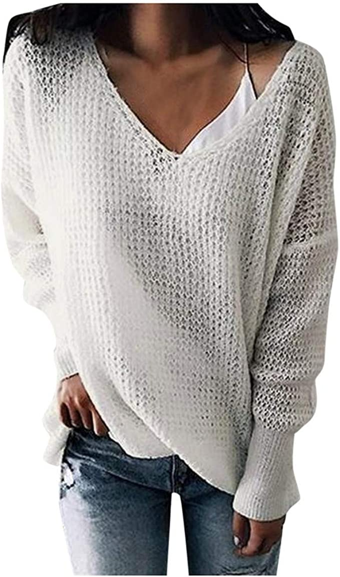 MoonHome Womens Waffle Knit Sweater Winter Fuzzy Popcorn V