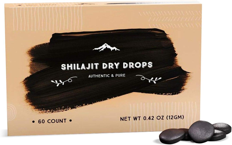 Shilajit Dry Drops from Pure Himalayan Shilajit ® - 60 Counts, 2 Month Supply, Original Siberian Shilajit, 100% Pure, Trace Minerals & Fulvic Acid