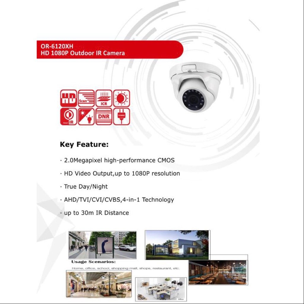 Yes-Original 2MP 2.8mm 1080P 4 in 1 Indoor Dome Security Camera CMOS Image Sensor Dome Security Camera Metal Body OR-6120XH