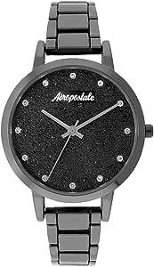 Aéropostale - Reloj de cuarzo para mujer, color negro, esfera Galaxy