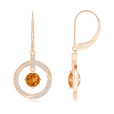 Angara Oval Citrine Circle Dangle Earrings in 14K Rose Gold l333yR