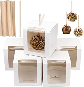 Fireboomoon 30 PCS White Kraft Candy Apple Boxes with Holes and Sticks,Caramel Candied Apple Cake Cookies Chocolate Gift Boxes with Clear Window for Wedding,Party,Baby Shower(4