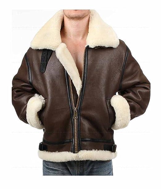 aa9332df3 JANAN Tom Hardy Dunkirk Jacket Men's Brown Fur Aviator Shearling ...