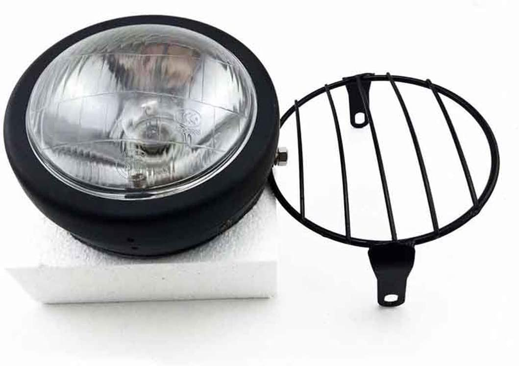 Amber Lens+ Diamond Mesh Vintage Motorcycle Headlight Cafe Racer Head Light Decorative Lights Modified Motorbiker Vintage Head Light With Grill Cover