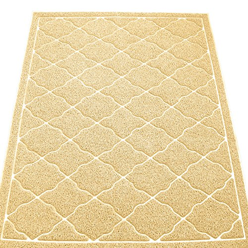 KW Pets Non-Toxic Cat Litter Mat, Jumbo Size (47x35-Inch), Light (Cat And Laser Pointer Costume)