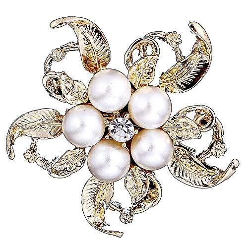 Man Made Pearl (Clivia Brooch Man-made-pearl Corsage Elegant Fashionable Blooming Flower Pin for Women)