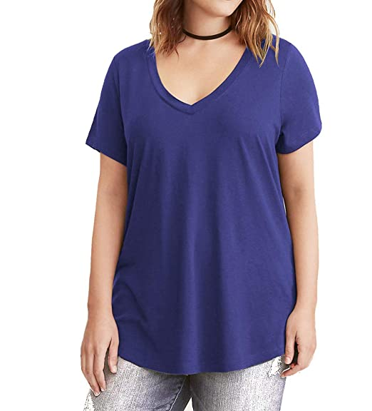 00384767246 Women s Short Sleeve V-Neck Loose Casual Tee T-Shirt Tops at Amazon ...