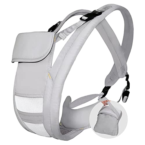 Hommie Ergonomic Baby Carrier, Four Position Soft Breathable Carrier for All Shapes and Seasons, Perfect for Nursing 3 Months to 24 Months Infant and Toddlers,Gray