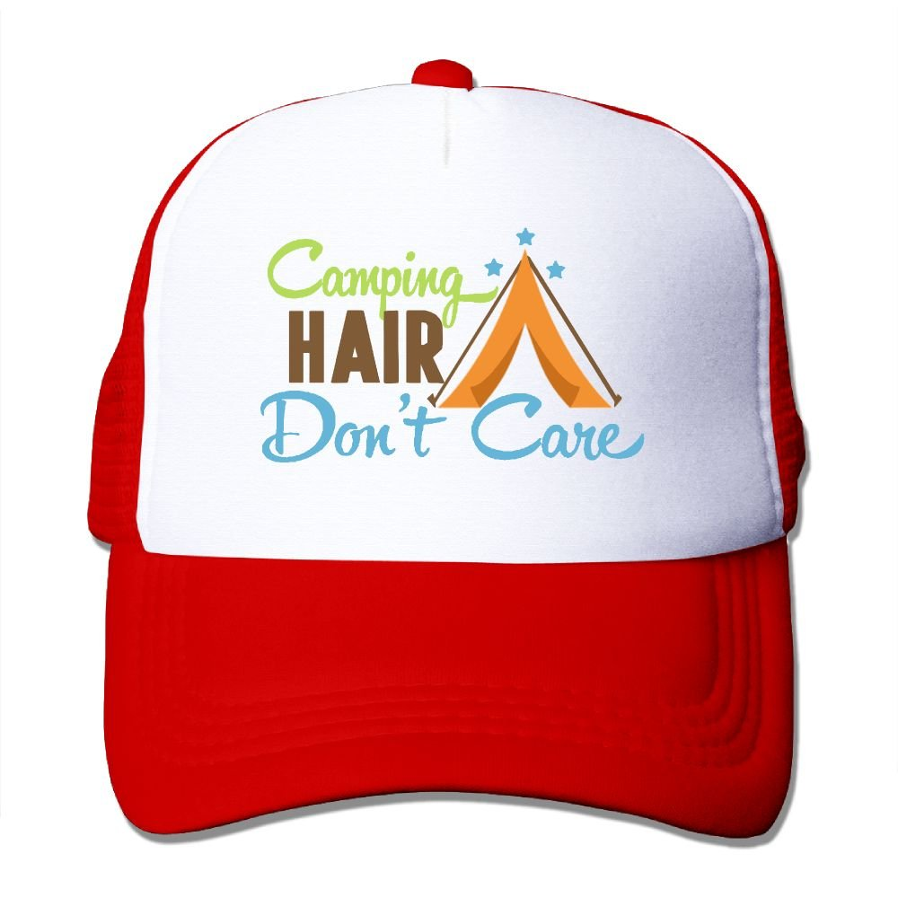 Camping Hair Don't Care Unisex Adjustable Mesh Baseball Caps Trucker Hat
