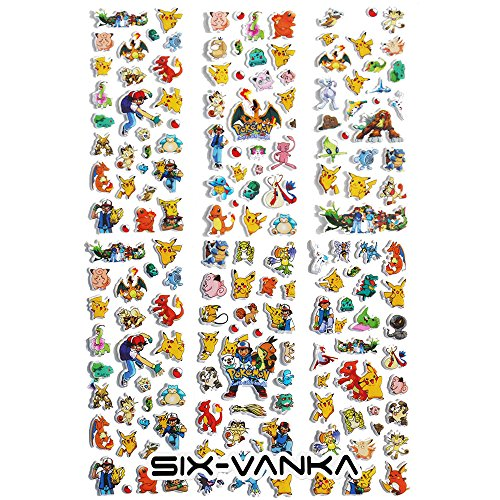 One Pokemon Sticker (SIX VANKA Pokemon Go 3D Puffy Stickers Pikachu 6 Sheets)