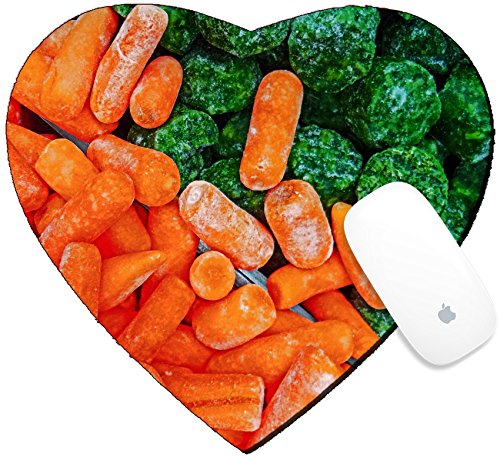 Luxlady Mousepad Heart Shaped Mouse Pads/Mat design IMAGE ID: 34633131 Bunch with carrots and broccoli frozen put together