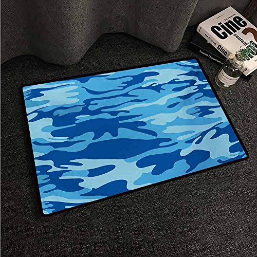HCCJLCKS Outdoor Doormat Camouflage Abstract Camouflage Costume Concealment from The Enemy Hiding Pattern Machine wash/Non-Slip W35 xL59 Pale Blue Navy Blue]()