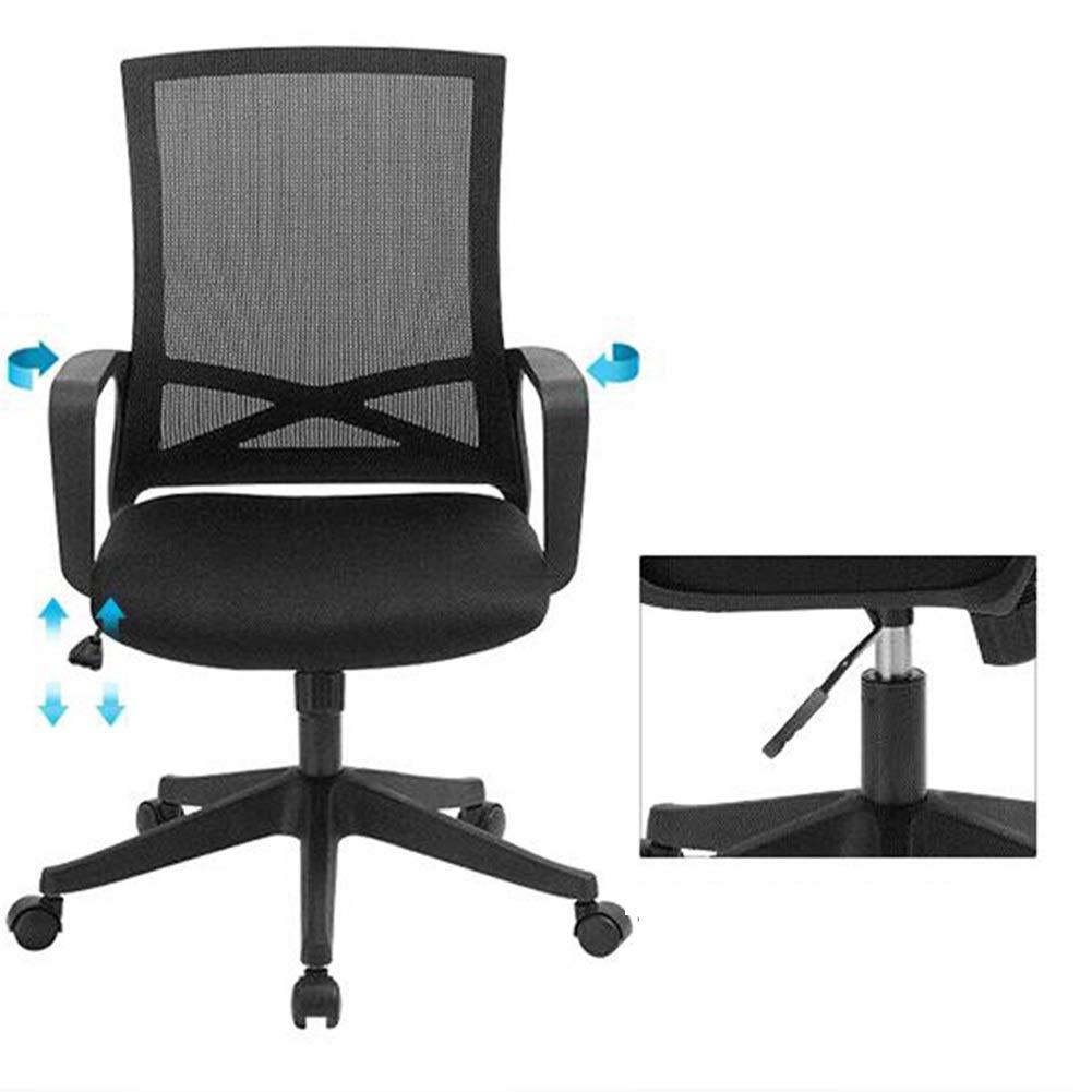 WYYY stolar kontorsstol, ergonomisk svängbar skrivbordsstol nätstol andningsbar justerbar höjd personalstol hållbar stark (färg: svart) Svart