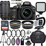 Nikon D3400 24.2 MP DSLR Camera (Black) Video Kit with AF-P 18-55mm VR Lens & AF-P 70-300mm ED VR Lens + LED Light + 32GB Memory + Filters + Macros + Deluxe Bag + Professional Accessories