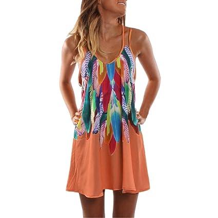 37b4ef3a37 Amazon.com: Hemlock Teen Dress Skirts Colorful Printed Beach Sundress Women  Summer Maxi Boho Dress (L, Orange): Kitchen & Dining