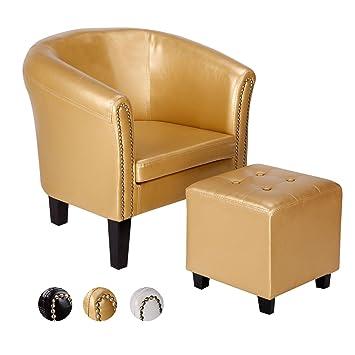 CCLIFE Chesterfield Lounge Sessel Mit Sitzhocker   Klassisches Design Mit  Hochwertige Qualität Für Wohnzimmer, Esszimmer