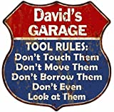 Great American Memories David's Garage My Tools My Rules Red Blue Sign Man Cave 12x12 Gift S125478