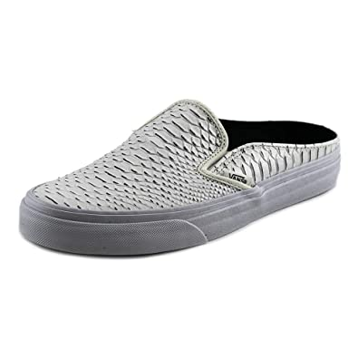 890cc88f58 Vans Women Classic Slip-On Mule - Embossed Leather (White/True White)