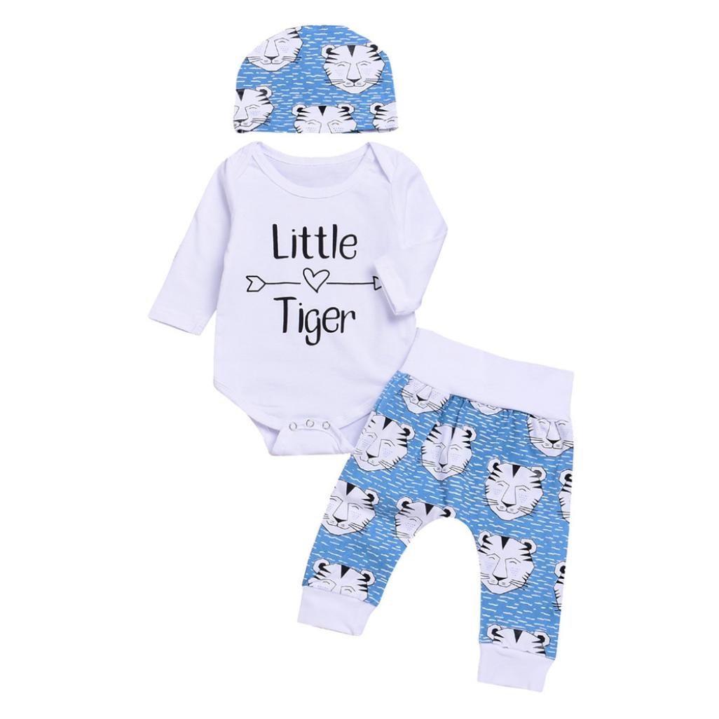 Voberry Newborn Baby Boys Girls Letter Romper+Cartoon Tiger Pants Hat 3pcs Clothes Set Autumn Winter Outfits for 0-18 Months
