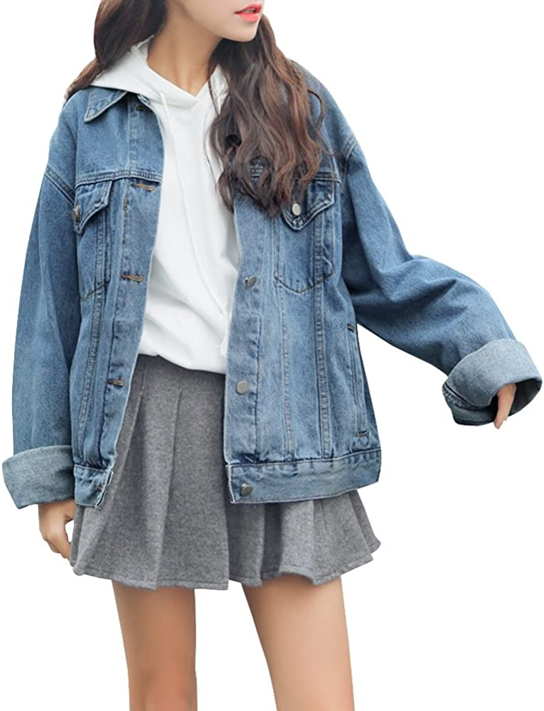 09ab6e18bc9d Women's Denim Jean Jacket Long Sleeve Slim Petite Outwear with Pocket Small  Blue