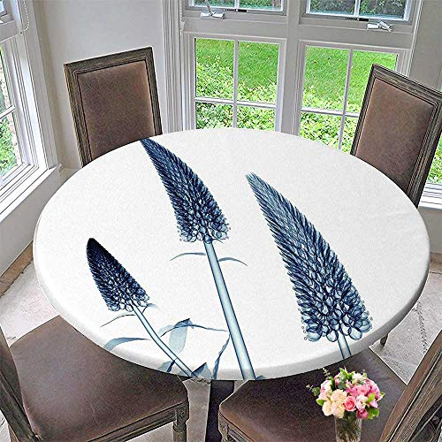 Mikihome Circular Table Cover Gooseneck Loosestrife Flower X Rays Plants Blooms Home Teal White for Wedding/Banquet 31.5