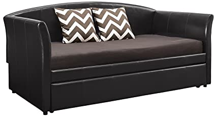 DHP Halle Upholstered Daybed and TrundleSimple Design Size Faux Leather, Twin, Brown
