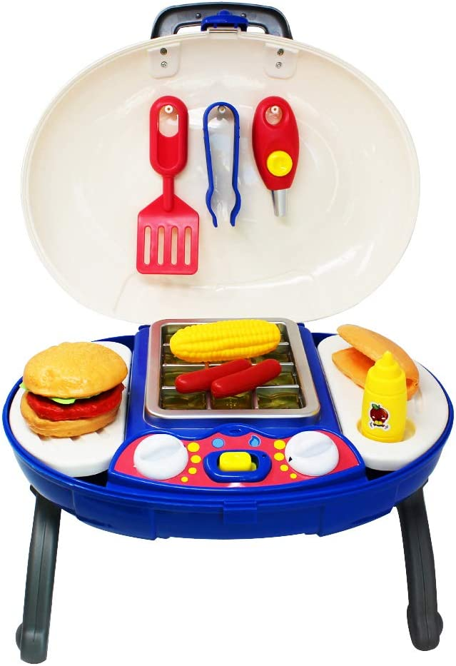 Kids Play Set Kitchen Toy Food Grill Outdoor BBQ Toddler Pretend Playset Cooking Sets Camping Chef Barbecue Backyard Picnic Barbeque Mini Utensils Grilling Lights & Sounds Charcoal Grills Hamburger