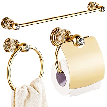 AUSWIND Gold White Crystal U0026Brass Bathroom Accessories Sets Wall Mounted 3  Pieces Gold Polished Bathroom Accessories