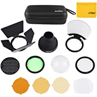 Godox AK-R1 Barn Door, Snoot, Color Filter, Reflector, Honeycomb, Diffuser Ball Kit for AD200, V1, H200R Round Flash…