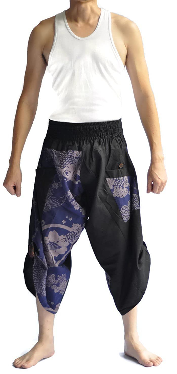Siam Trendy Men's Japanese Style Pants One Size Black Blue Fish Design