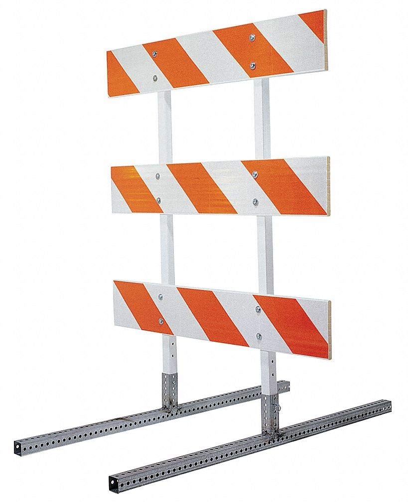 Square Barricade Feet, Silver, 60'' x 2'' x 8'', 10 lb, Perforated Steel