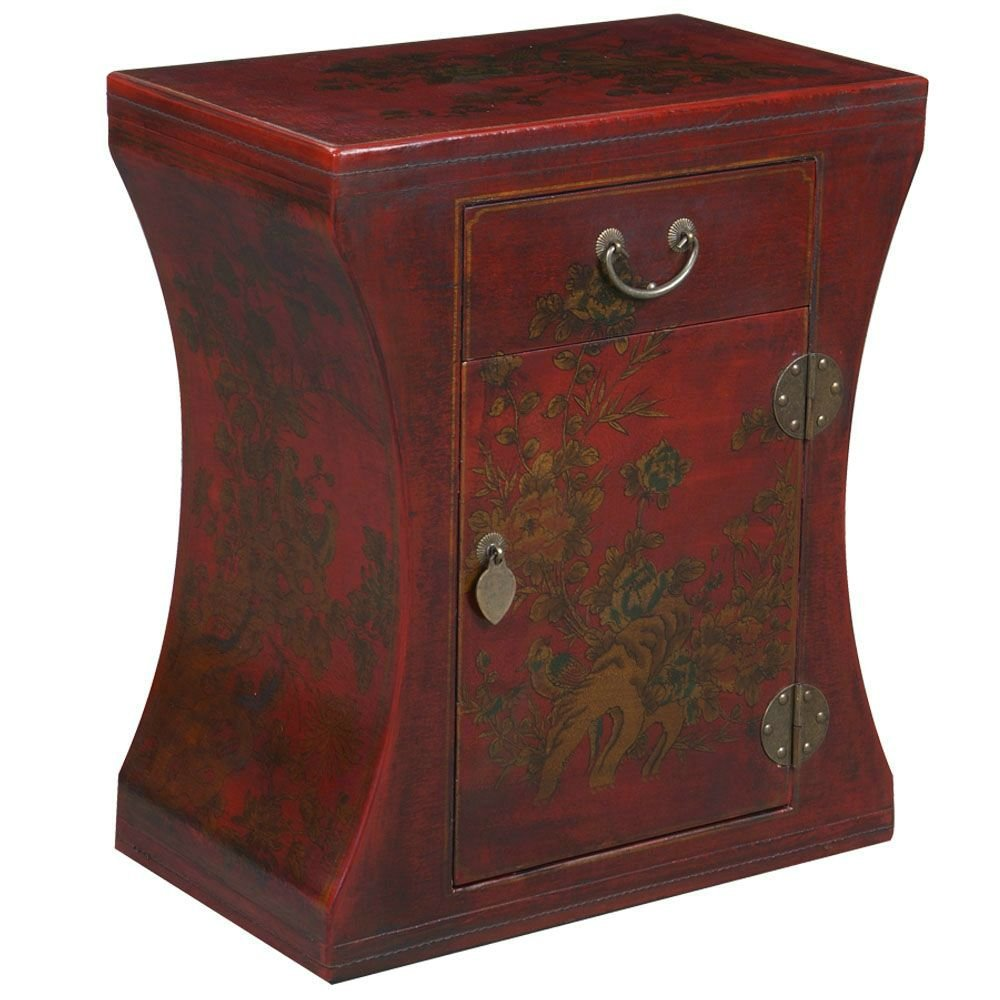 Amazon.com: EXP Handmade Oriental Furniture 24 Inch Antique Style Red  Hourglass End Table: Kitchen U0026 Dining