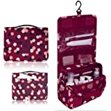 L&FY Hanging Toiletry Kit Travel BAG Cosmetic Carry Case (Flower in Wine Red)