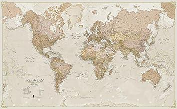 weltkarte antik Große Weltkarte im Antik Nostalgie   laminiert: Amazon.de: Küche  weltkarte antik