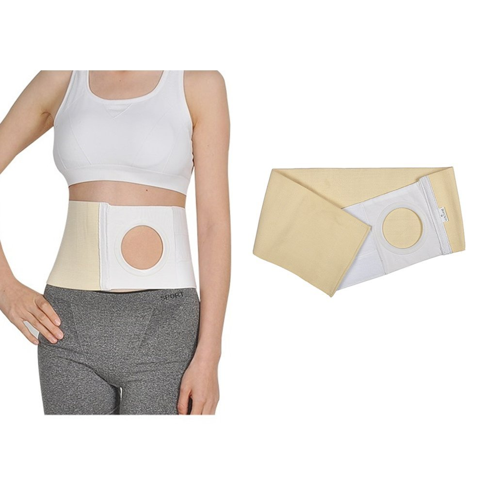 Ostomy Belt Abdominal Hernia Belt Stoma Support Truss Binder for Colostomy Pouch Supplies, Prevent Parastomal Hernia, Hole 3.14'' (M 32''-35'')