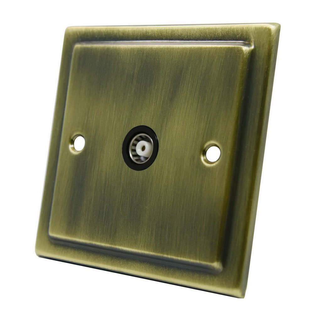 AET VAB1GTVBL Victorian Antique Brass TV Single 1-Gang Aerial Coaxial Female Socket