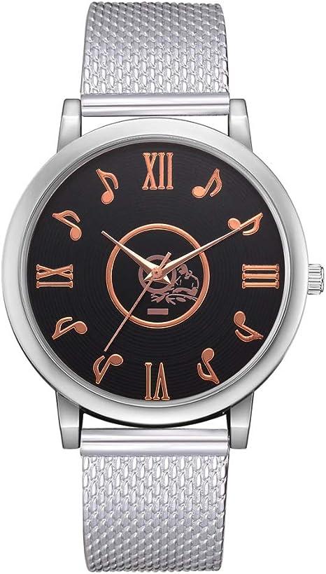 DEAR-JY Relojes Mujer,Reloj de Cuarzo con dial de Nota Simple, Reloj de Pulsera de Moda versátil para Mujer, Caja de Regalo Regalo de cumpleaños,Silver: Amazon.es: Deportes y aire libre