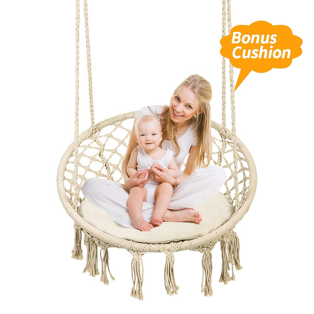 Greensen Swing Hammock Chair Macrame for Kids with Cushion,Heavy Duty Hanging Rope Large Swing Perfect for Indoor/Outdoor Patio Yard Garden Reading Leisure Lounging,265 Pound Capacity(Beige)