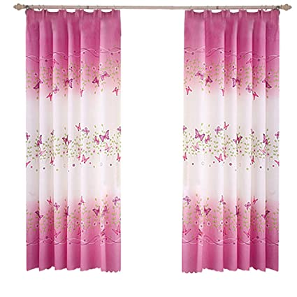 Pannow Butterfly Flowers Printed Window Curtains With Hooks Girls Room  Curtain Panels For Bedroom Living Room