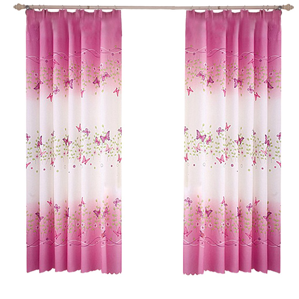 lulalula Butterfly Flowers Print Semi-Blackout Curtains with Curtain Hooks Window Curtain Panels for Girls Room Bedroom 39 x 78