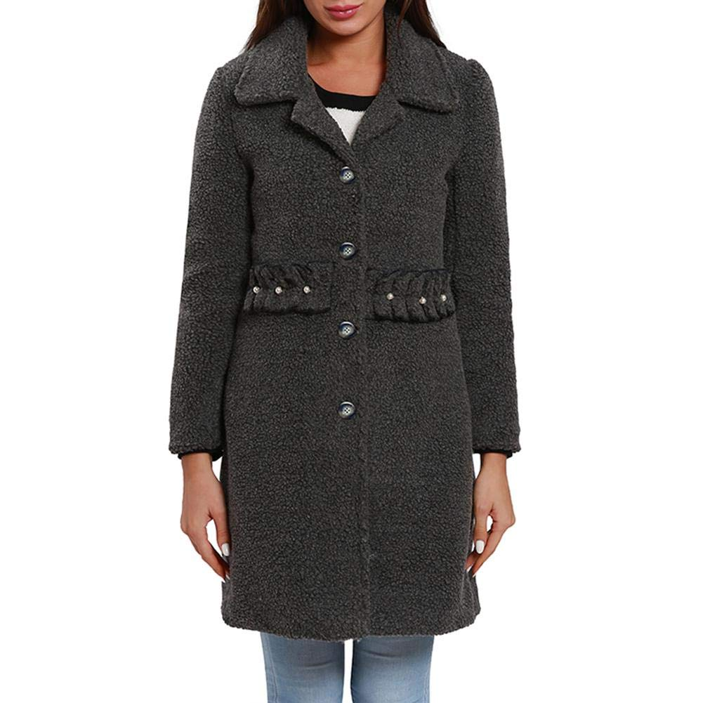 Women Coat Autumn Winter Windbreaker Jacket Plush Turndown Collar Trench Coat