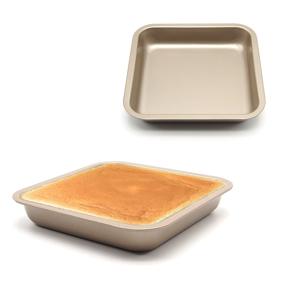MZCH 2 Pack Square Cake Pan Non-stick Loaf Bread Pan, Gold, 7.5 inches by 7.5 inches