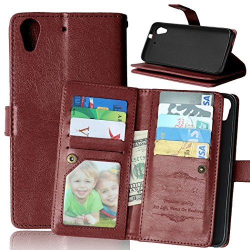 HTC Desire 626 / 626s Case, Tikeda Luxury PU Leather Wallet Case Flip Cover Built-in 9 Card Slots/ID Card/Business Card Holder Stand for HTC Desire 626 / 626s + - Htc Wallet Phone Desire