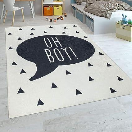 Paco Home Tapis Chambre Enfant Garçons Tapis Bébé Lavable Inscription  Tendance Noir Blanc, Dimension:140x200 cm