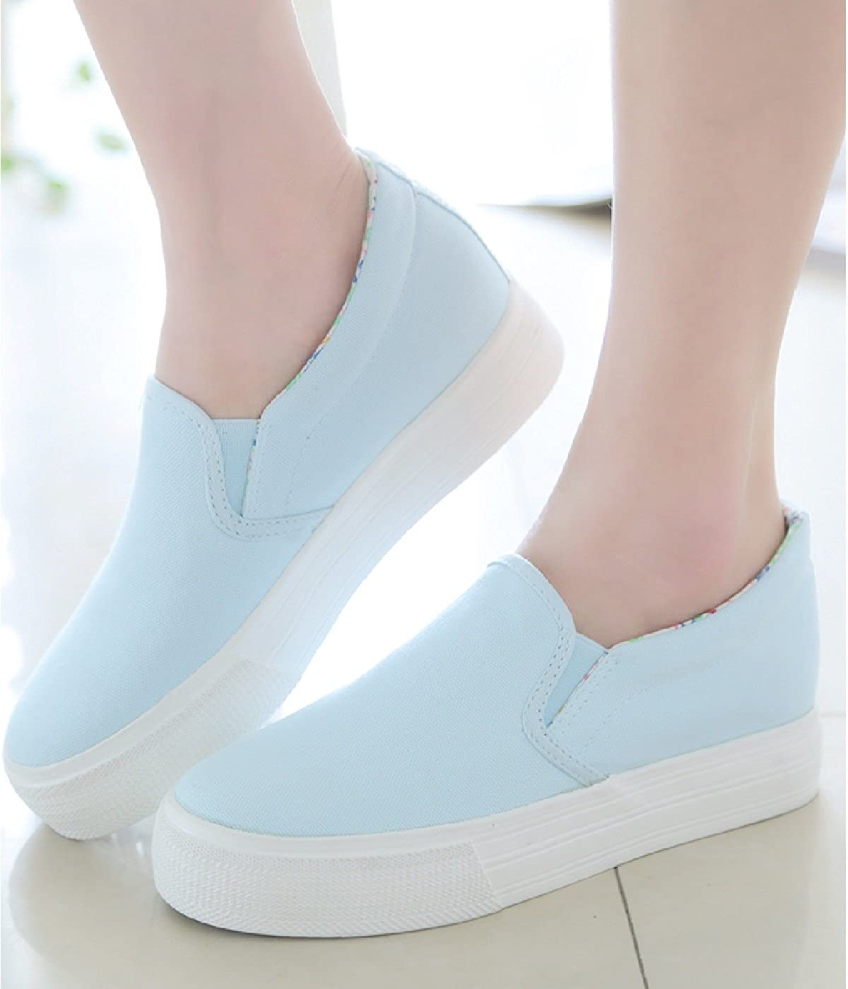 Amazon.com: Womens Sneakers Slip On Platform White Canvas Fashion Casual Shoes Low Cut Flats: Clothing