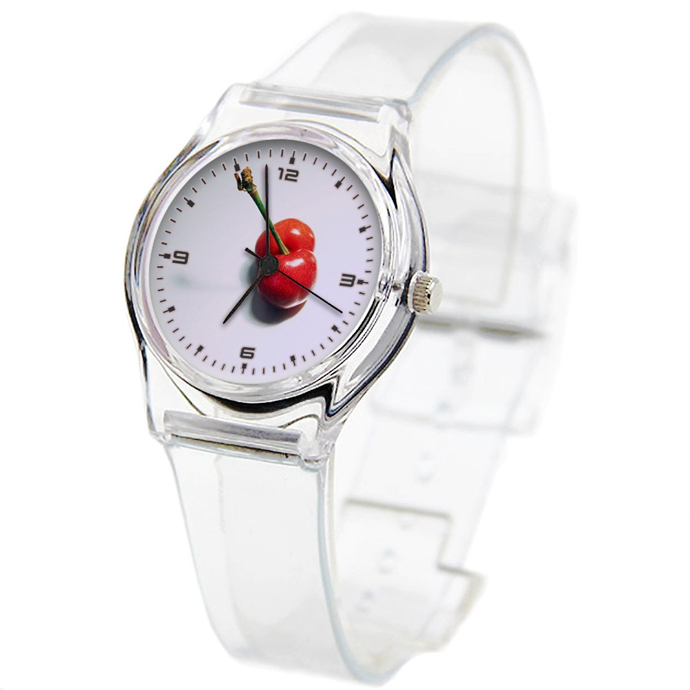 Personality Transparent Wristwatch Transparent Strap Summer Decoration Woman Child teacher Teen Young Girls Children Kids Watches Colorful Flower-388.White Minimalist Cherry Red Still Life Fruit